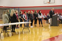 girls cheer team at fall sports awards