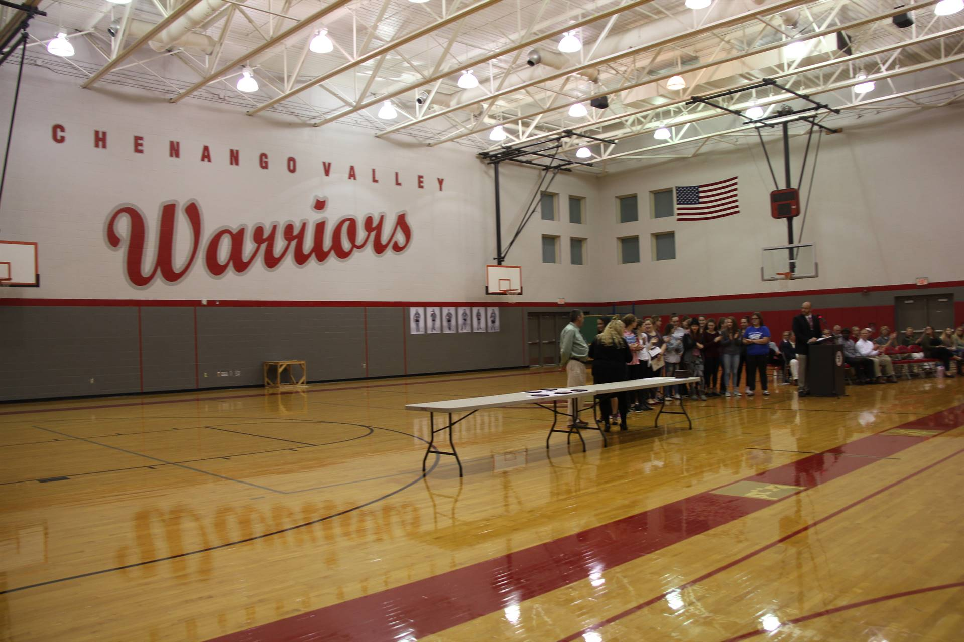wide shot of sports awards in high school gym