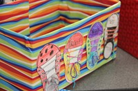 colorful shoe collection boxes at humanities night