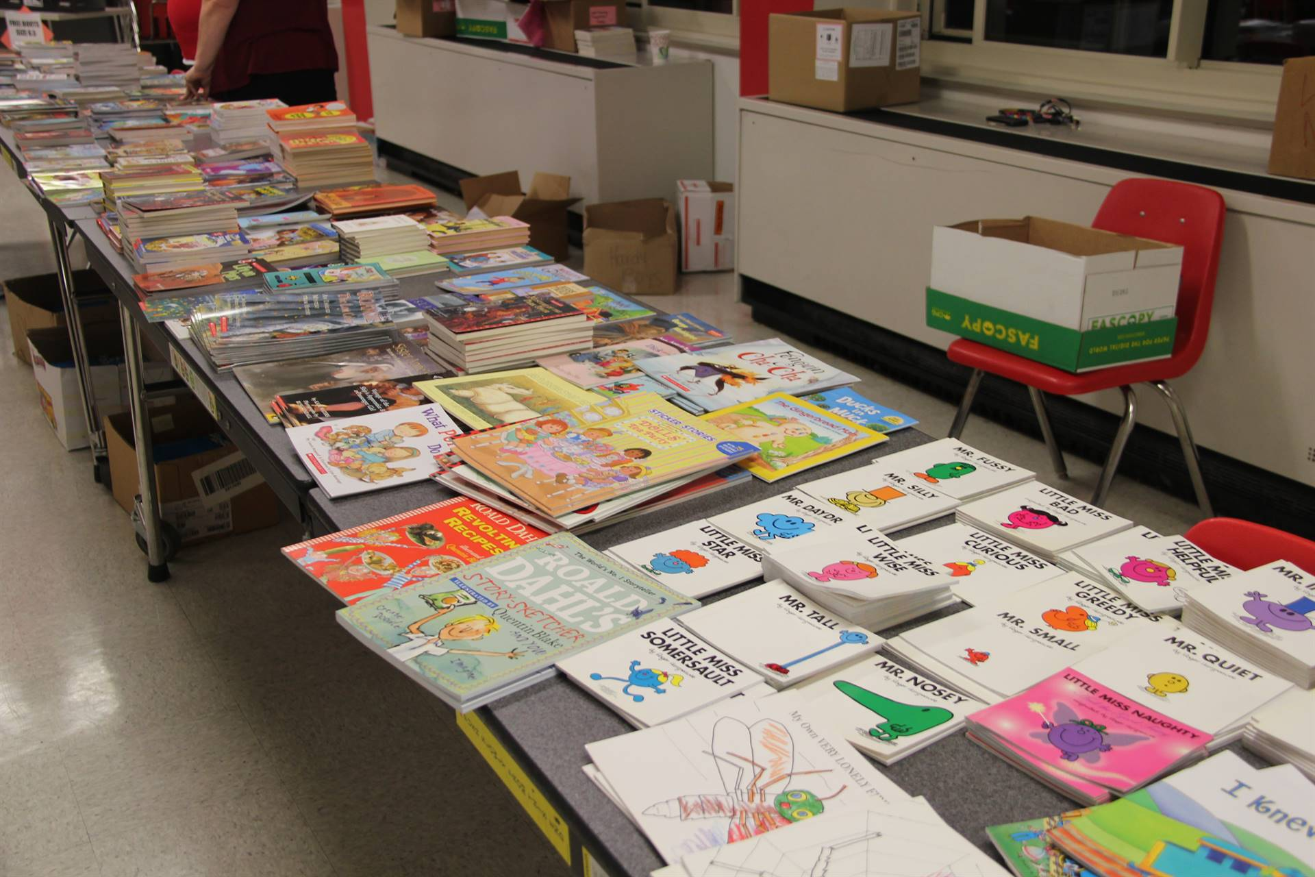 table of books at humanities night
