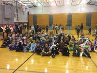 group photo at spooktacular event
