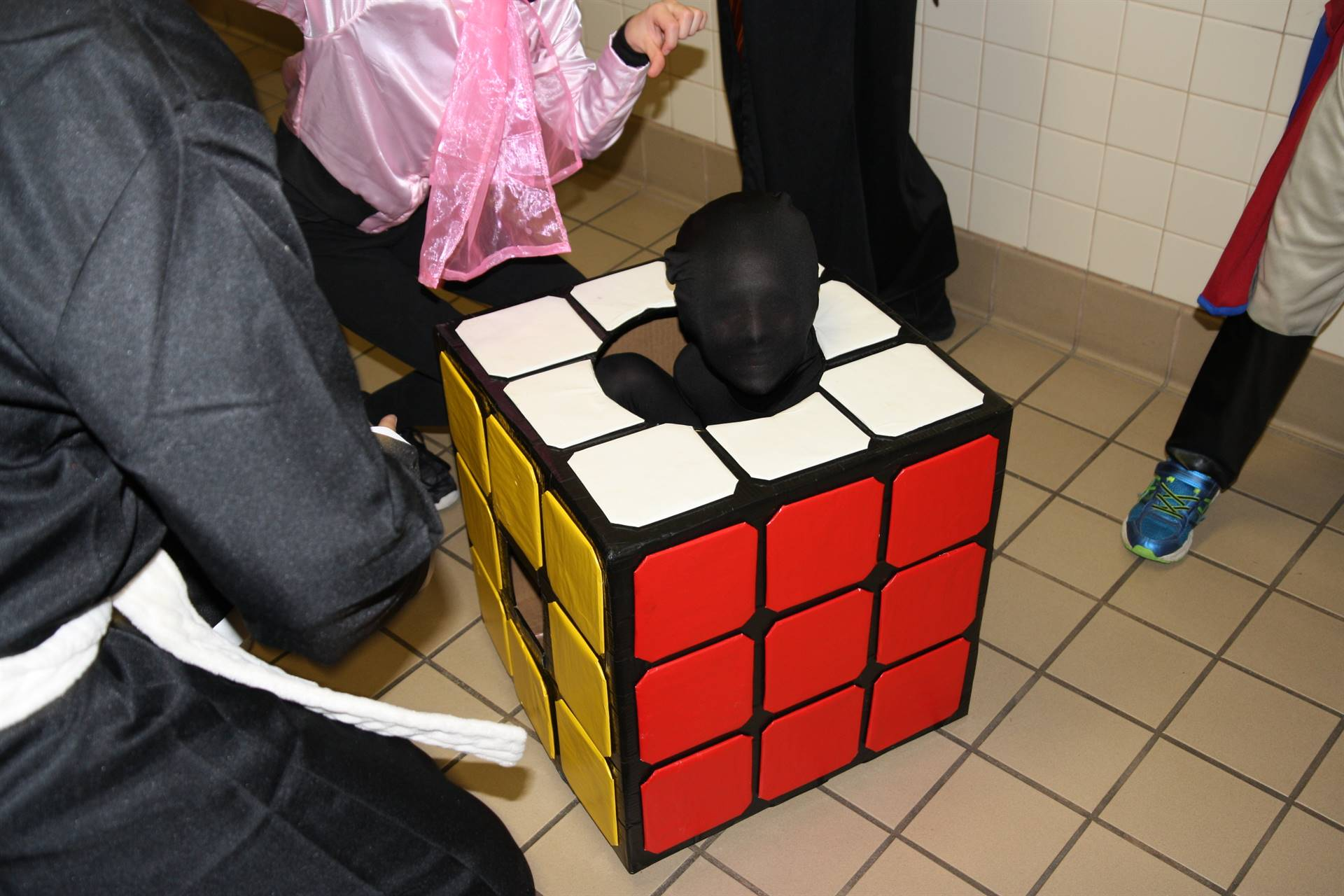 student dressed as rubix cube