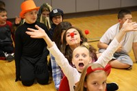 students dressed for halloween at chenango bridge elementary