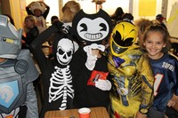 students dressed in costumes at chenango bridge elementary