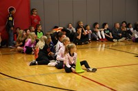 students watching halloween activities at chenango bridge elementary