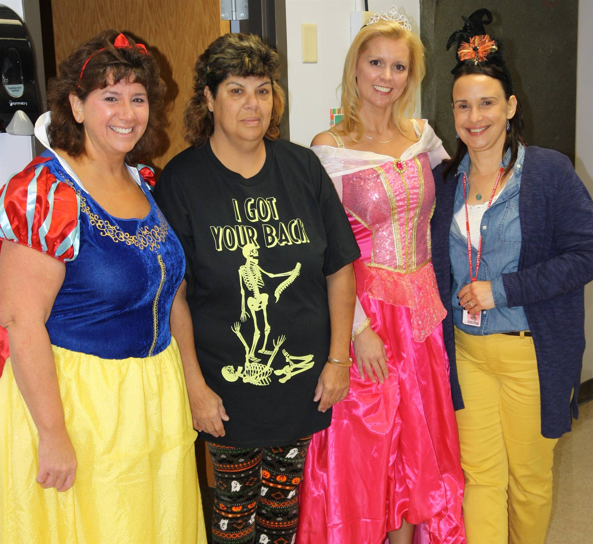 four chenango bridge staff members dressed up for halloween