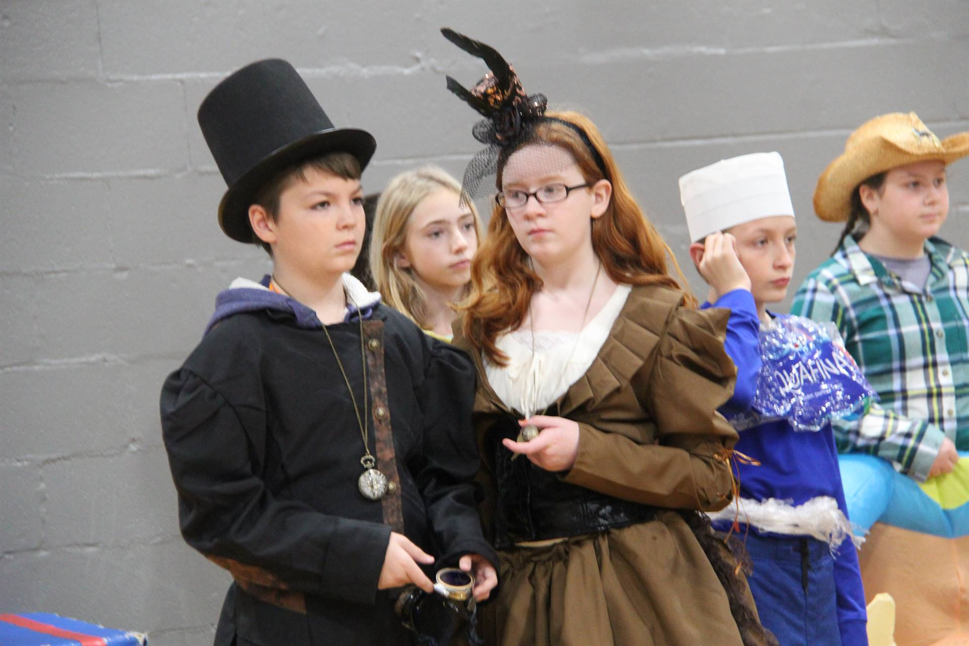 middle school students dressed in costumes
