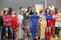 students dressed up for middle school costume contest
