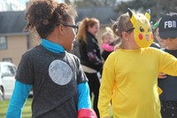 students dressed as cheerleader and pickachu