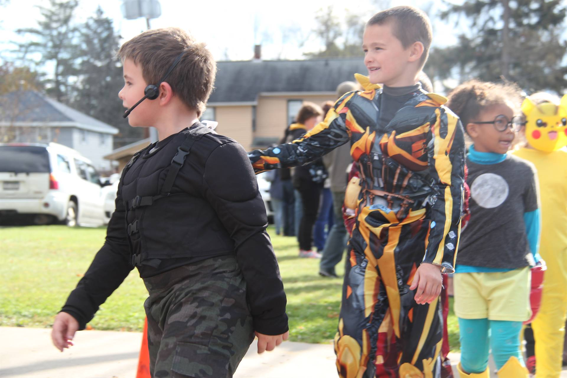 students dressed up for halloween parade