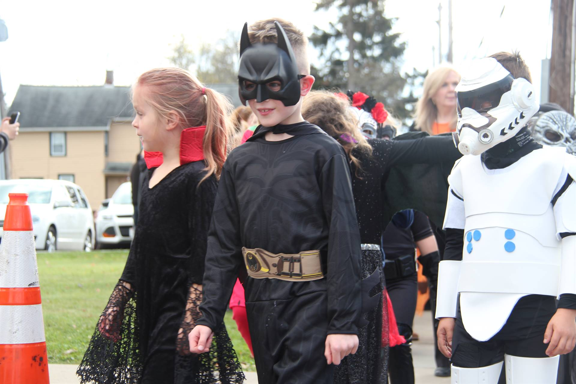 students dressed up for port dickinson halloween parade