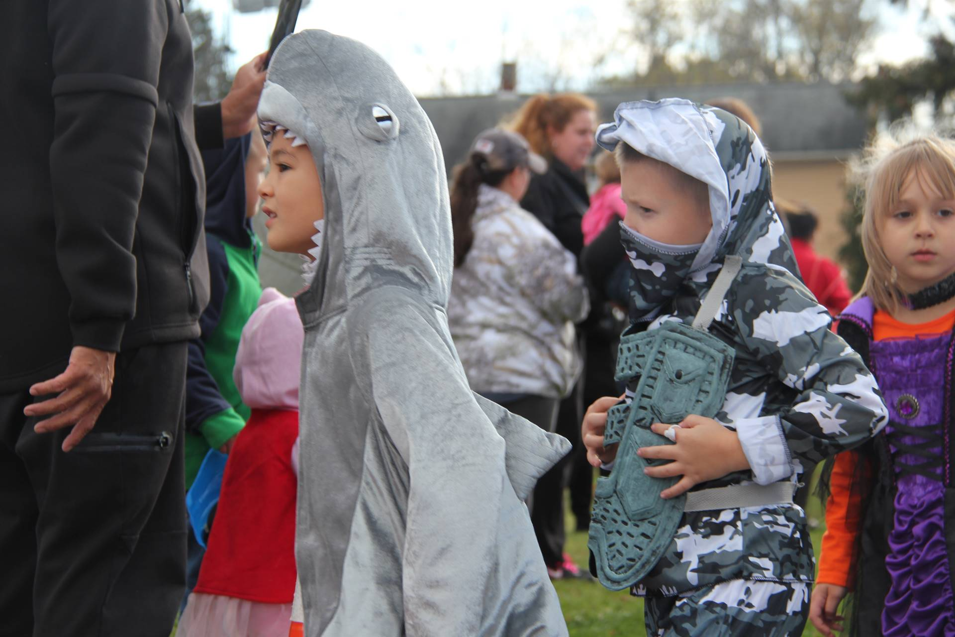 students dressed as sharks and ninjas