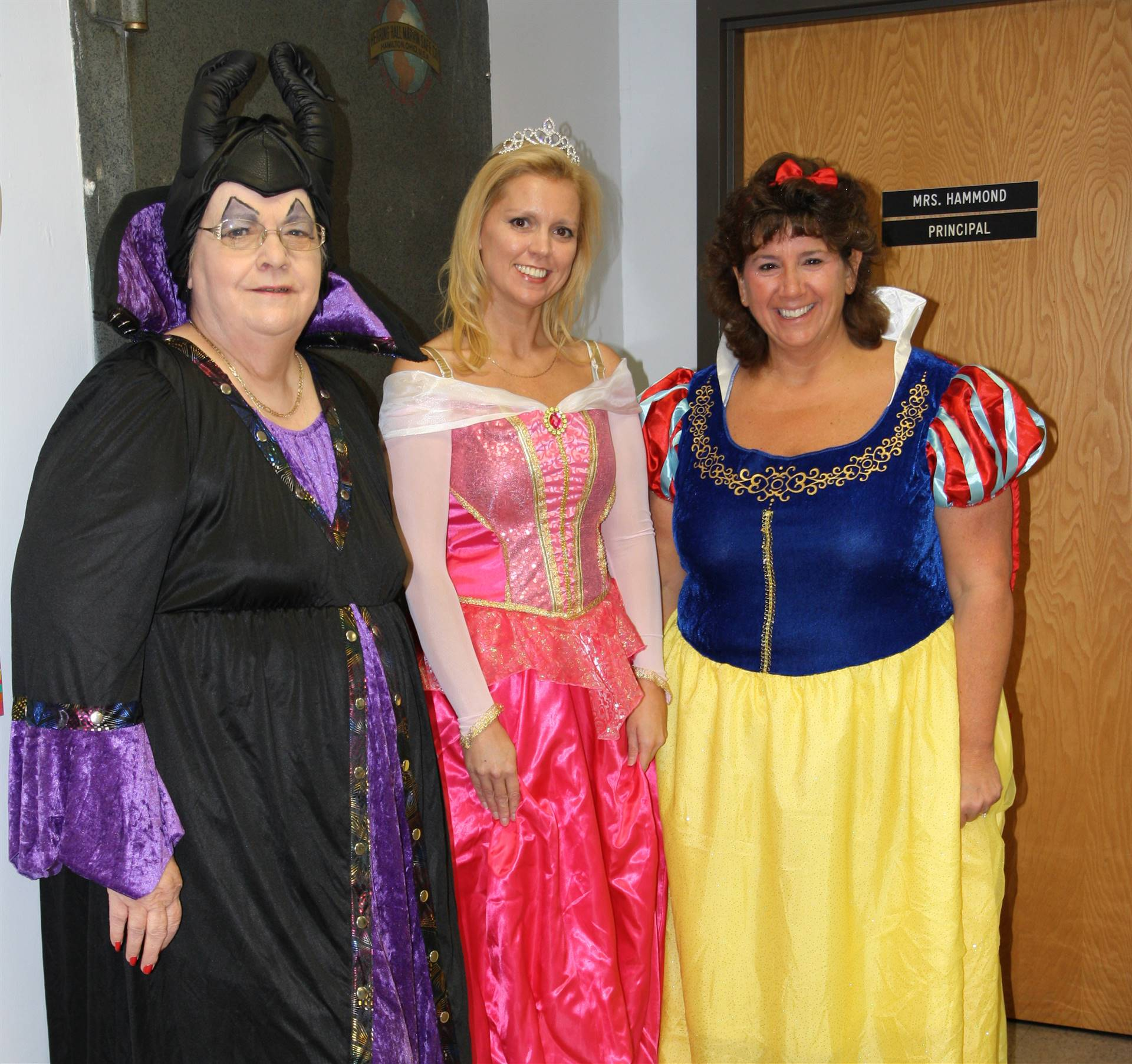 three chenango bridge staff members dressed up for halloween