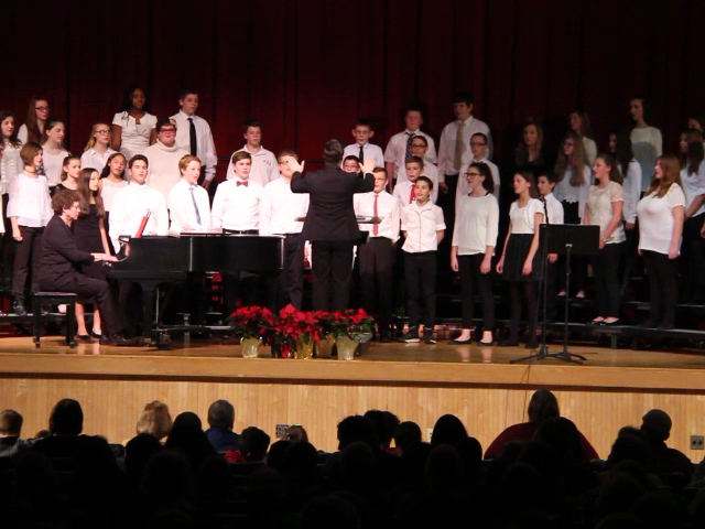seventh and eighth grade students singing
