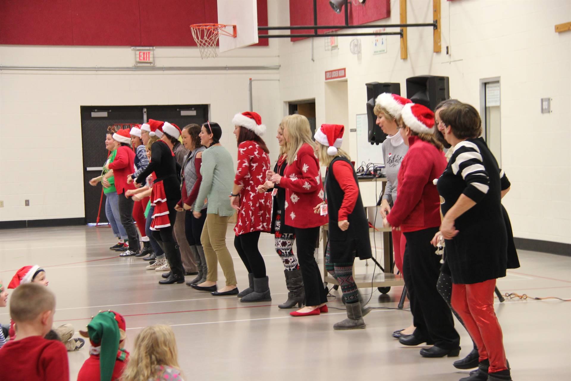 teachers dancing in a line