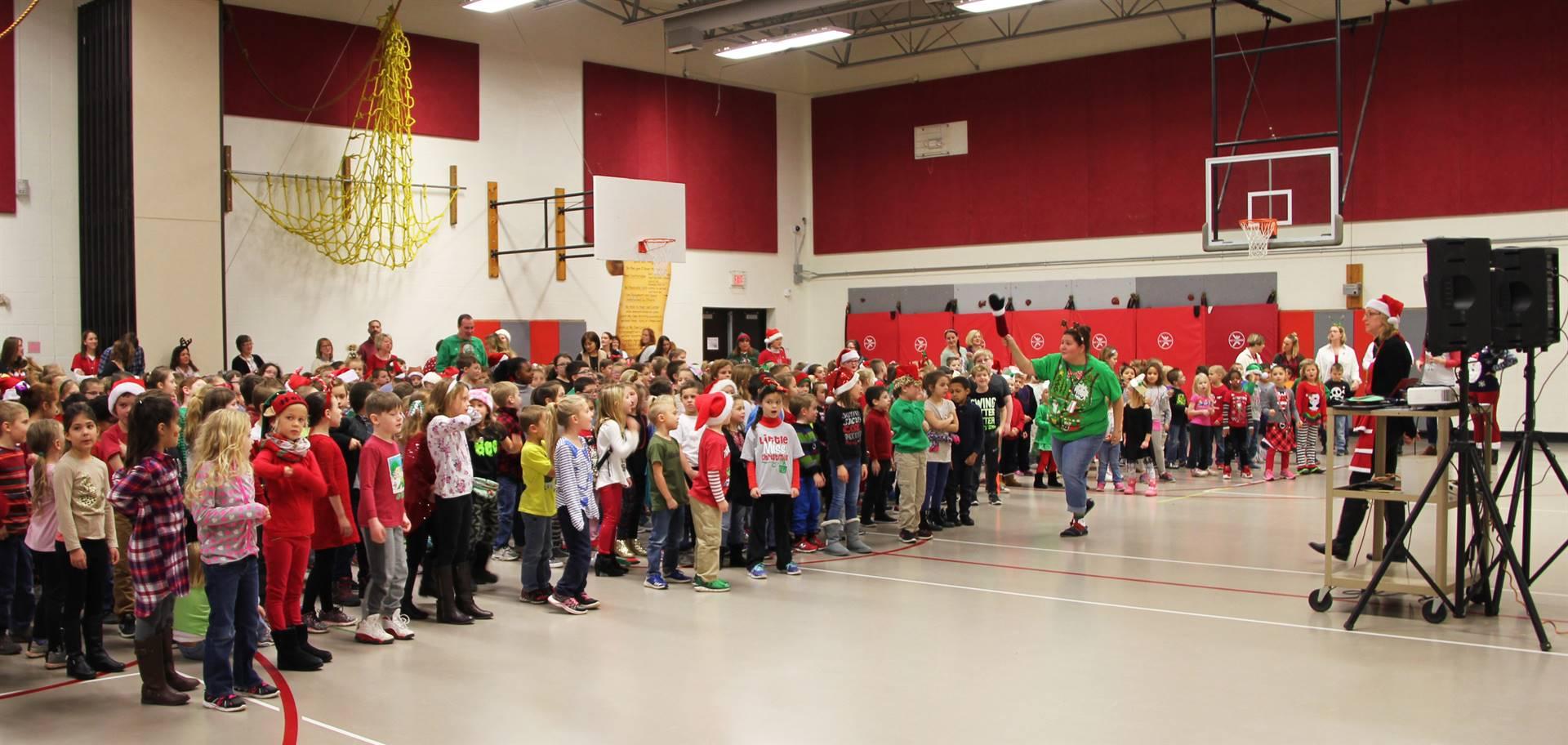 elementary students singing