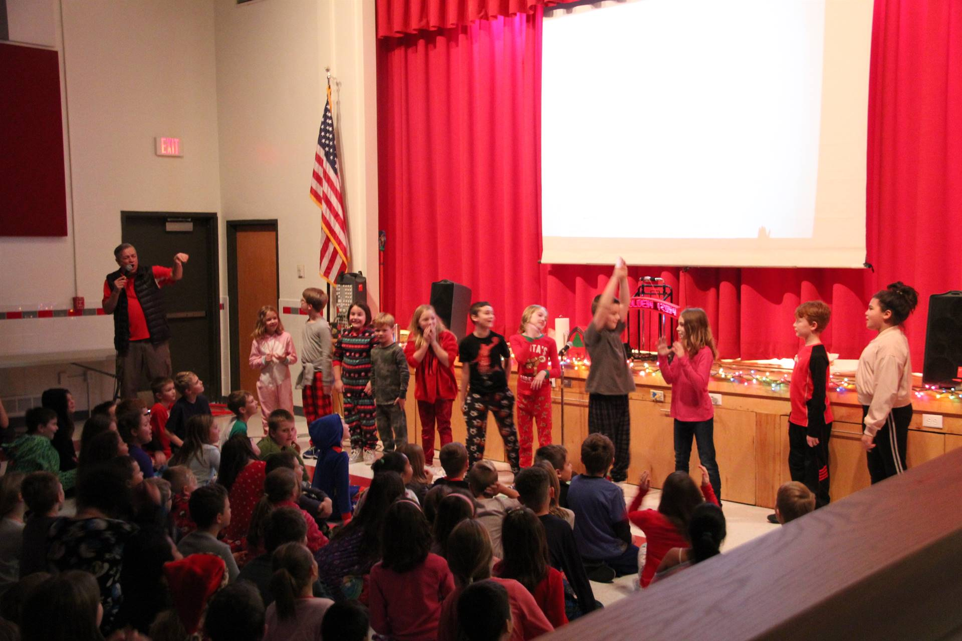 students dancing to holiday song