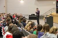 joel bennett talking to students