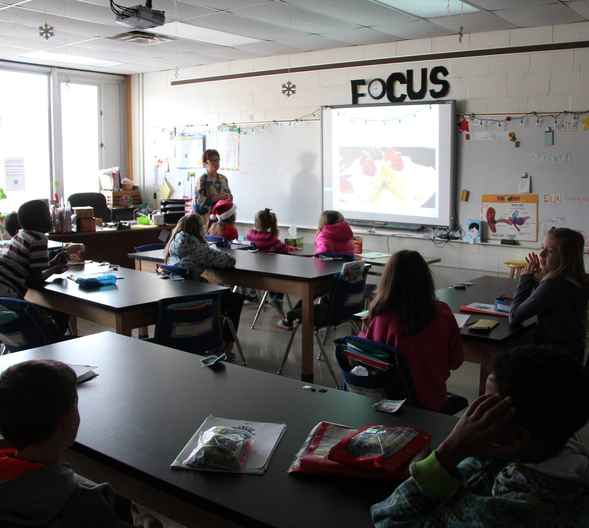teacher showing students powerpoint