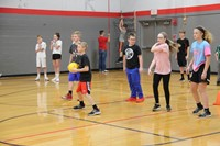 more students playing dodgeball