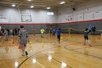 far shot of students playing dodgeball