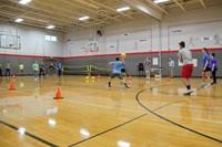 students playing dodgeball far shot