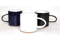 three ceramic mugs