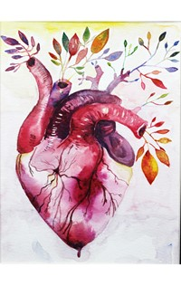 illustration of heart with leaves