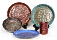 five piece ceramic doily set