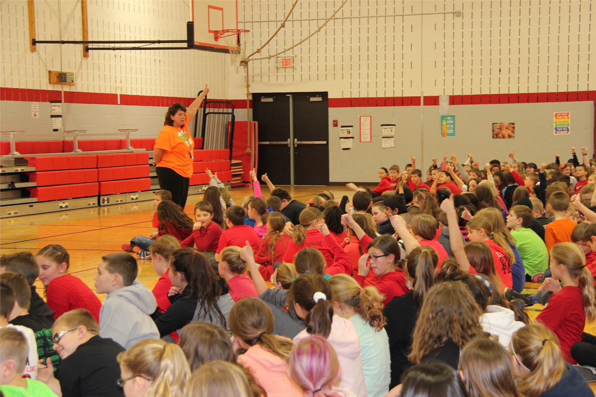 principal hammond talking to students