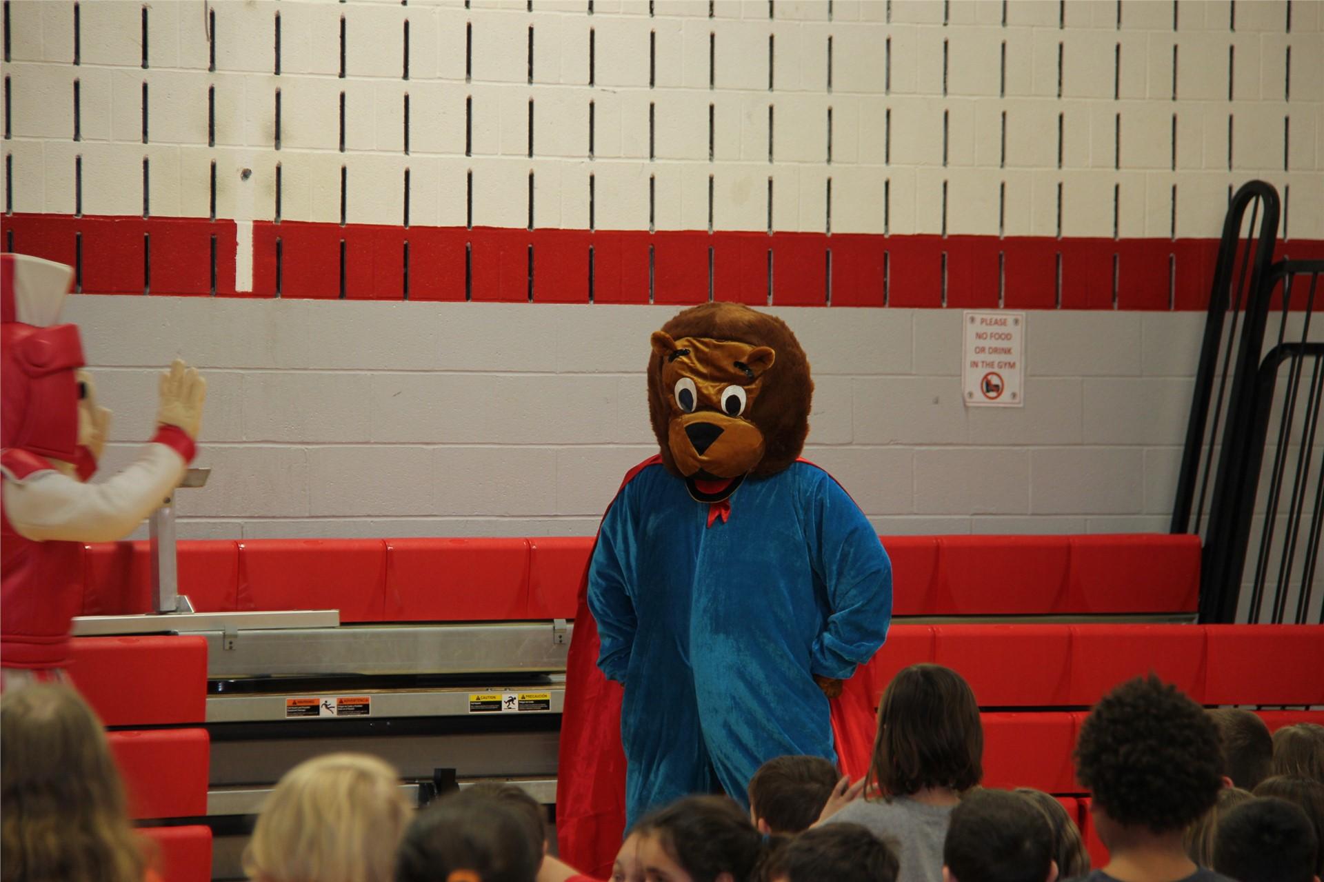 closer shot of bear mascot