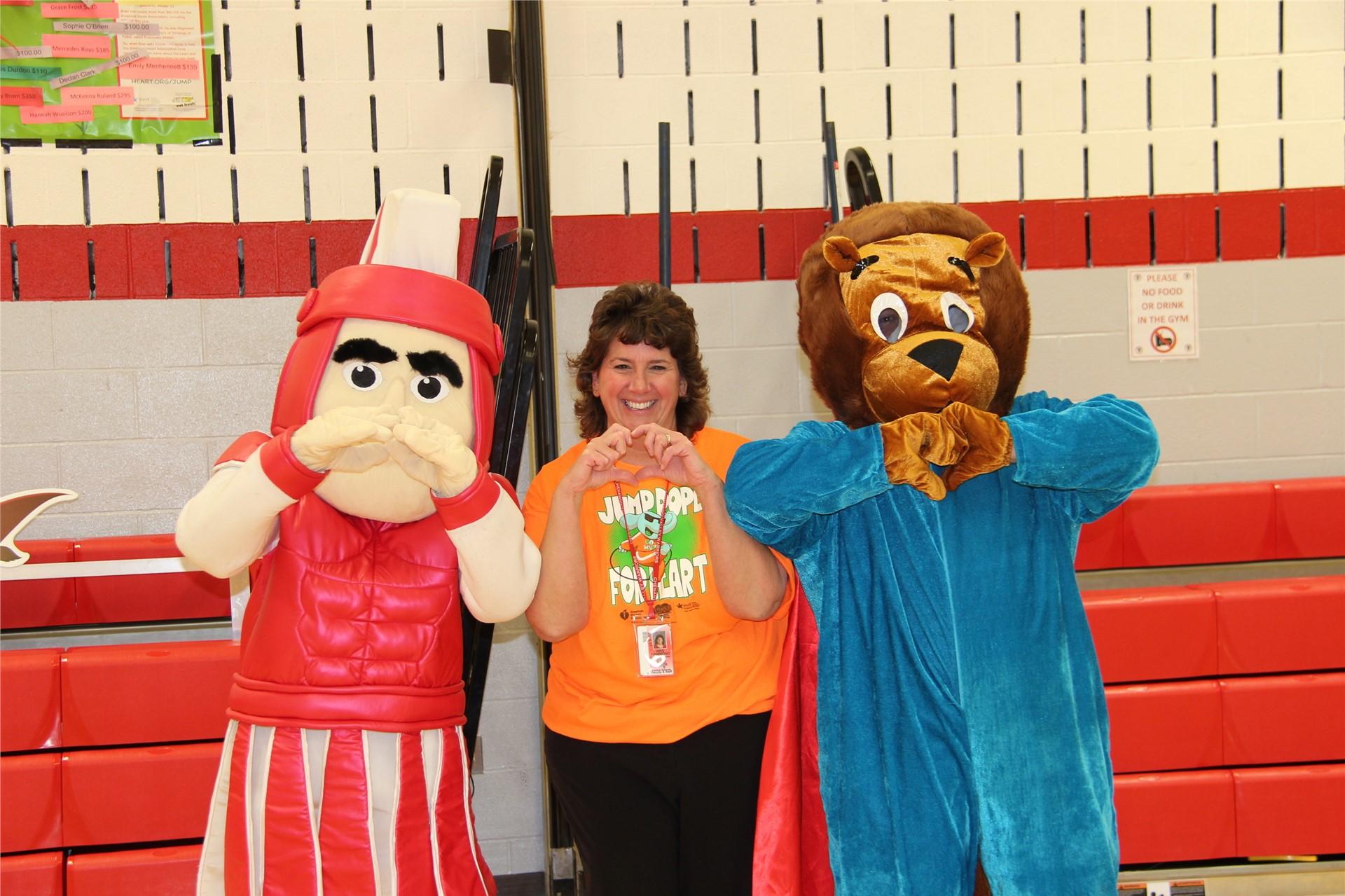 principal hammond with bear and warrior mascot 5