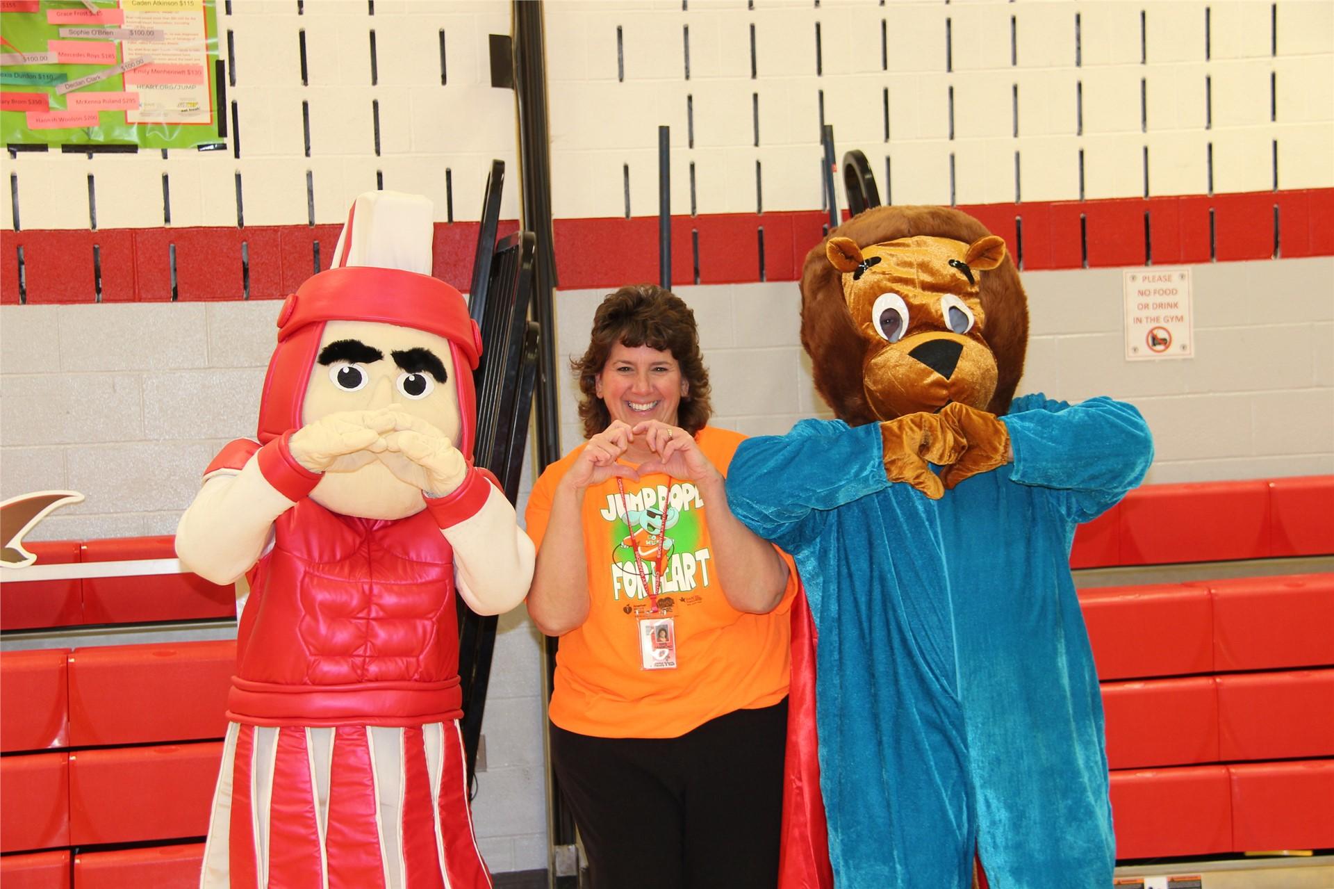 principal hammond with bear and warrior mascot 6