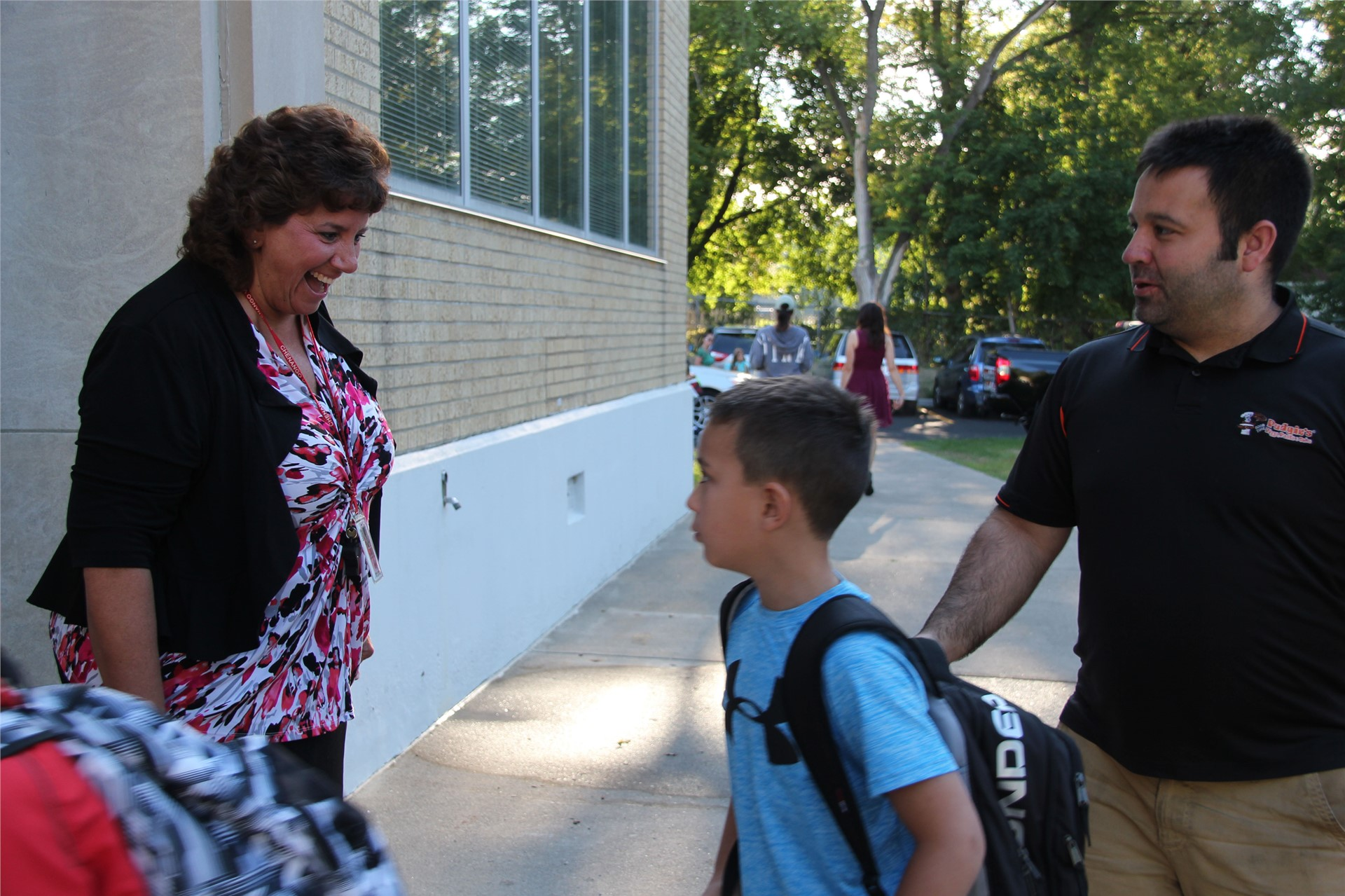 principal hammond greeting students