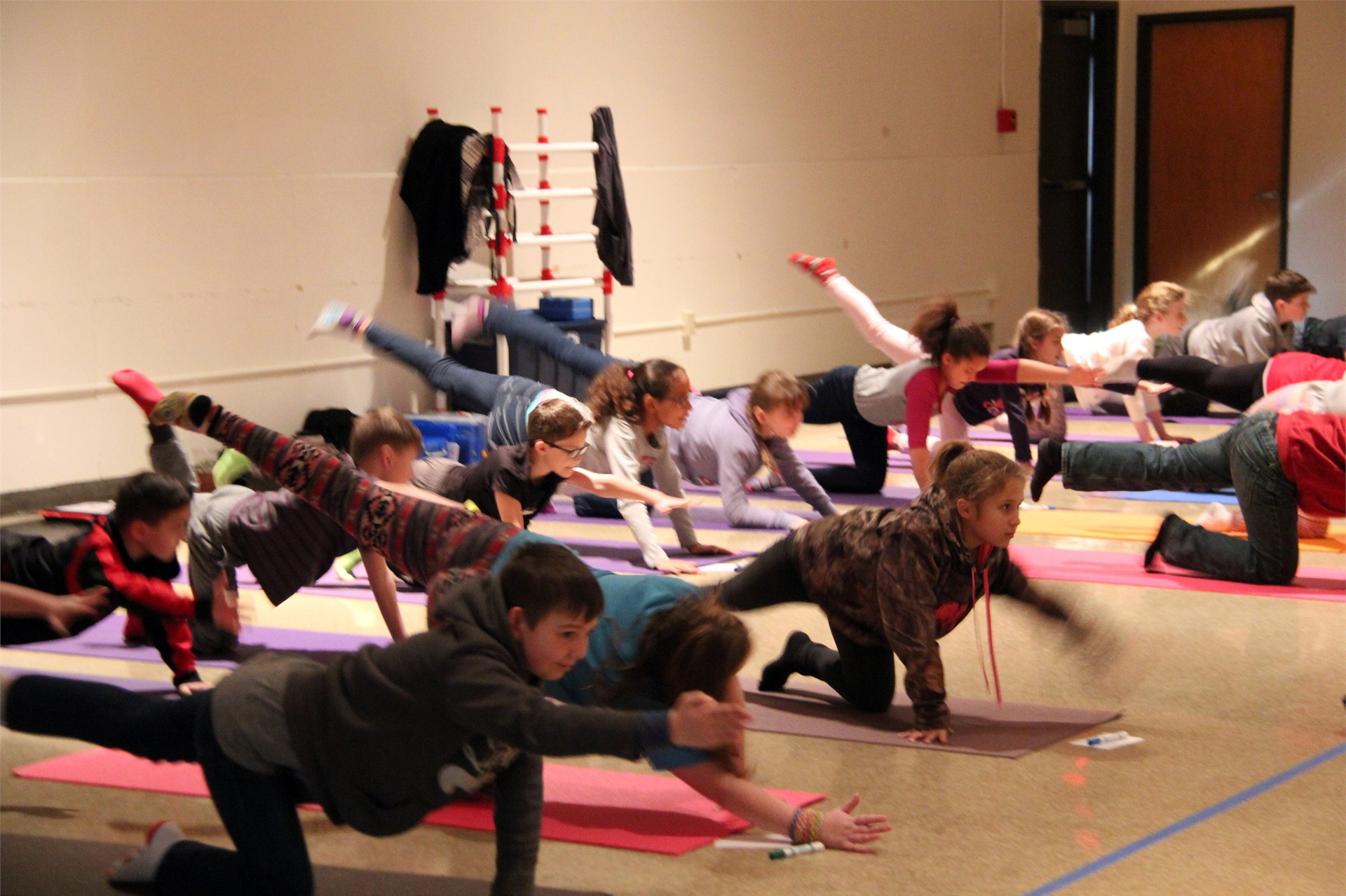 students trying yoga moves on mats