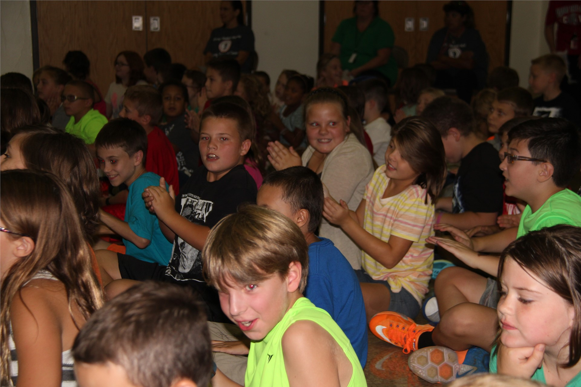 students listening to music