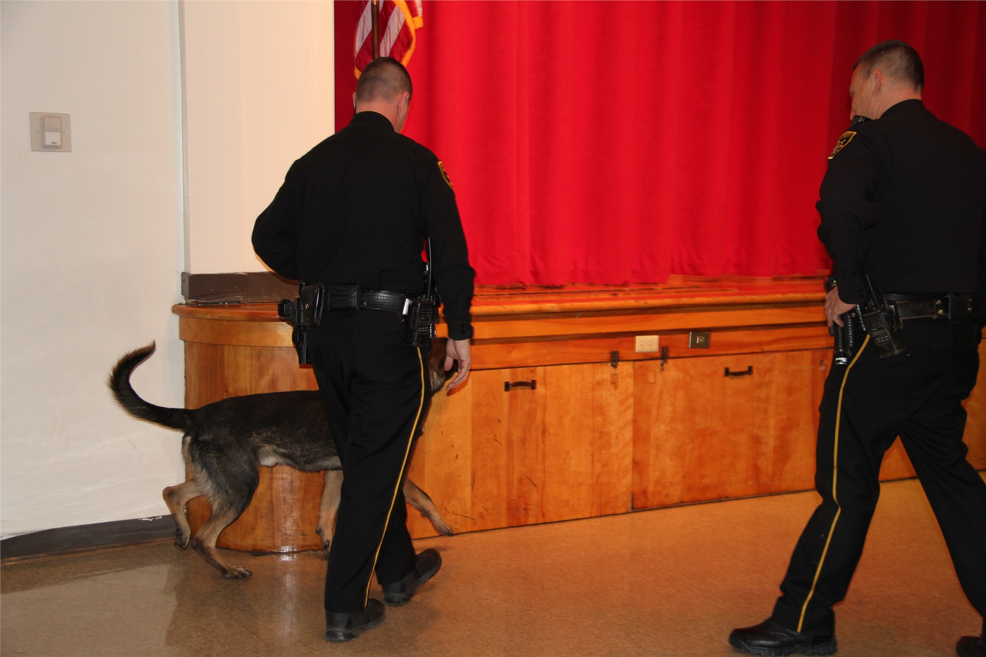 two officers and police dog