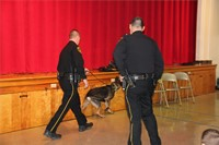 officer walking with police dog