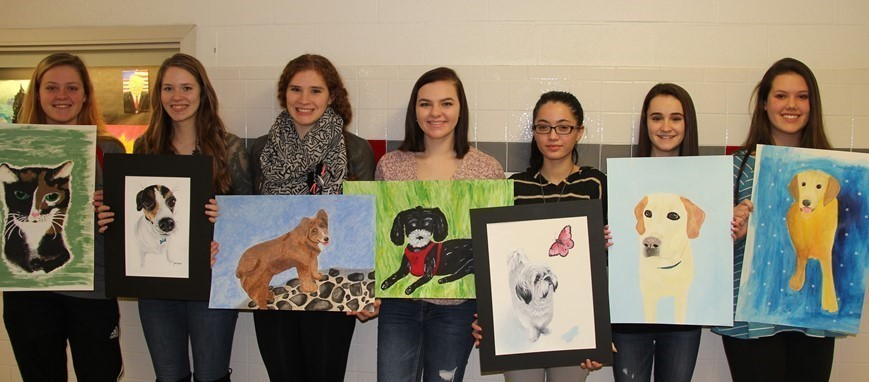 HS art students in Mr. Zanot's class created awesome portraits of their pets.