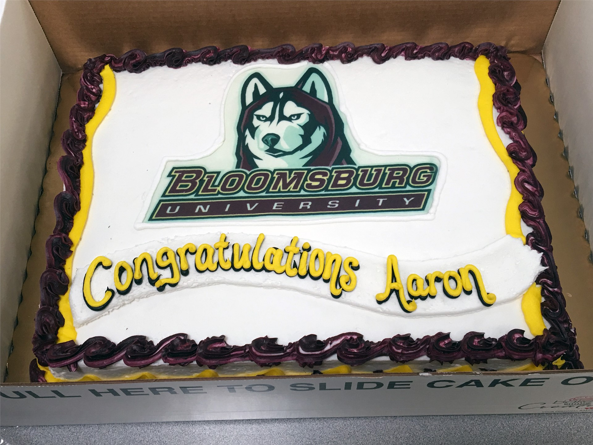 cake that says bloomsburg university congratulations aaron