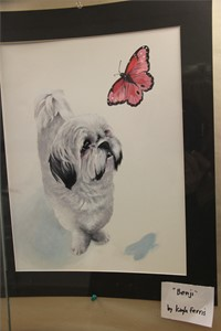 illustration of dog and butterfly