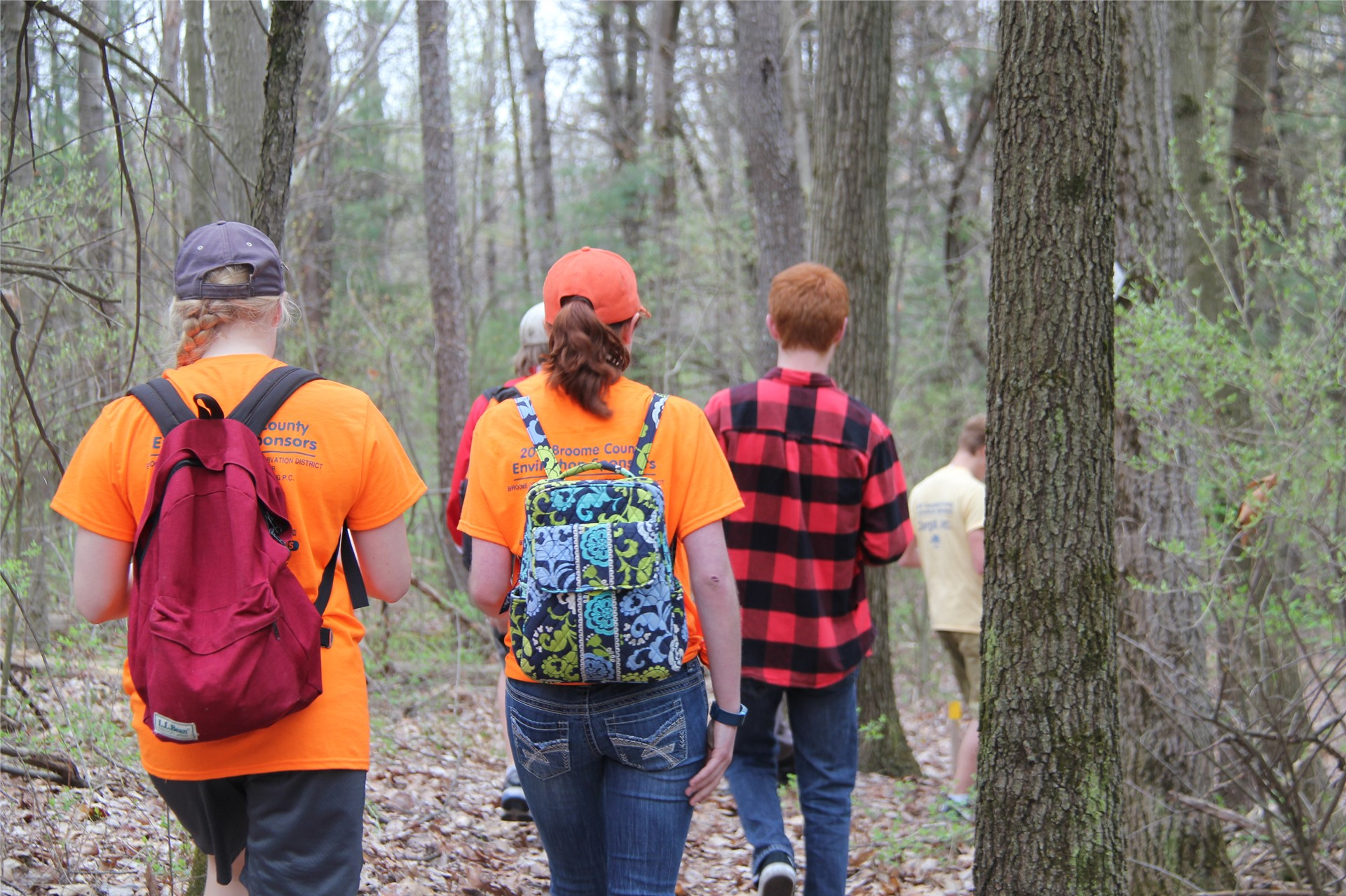 students walking in wooded area