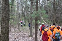 wide shot of students walking in wooded area