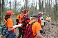 students exploring wooded area