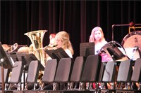 closer shot of students playing instruments