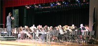 wide shot of band performing