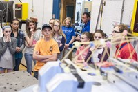 students watch bridge endurance test