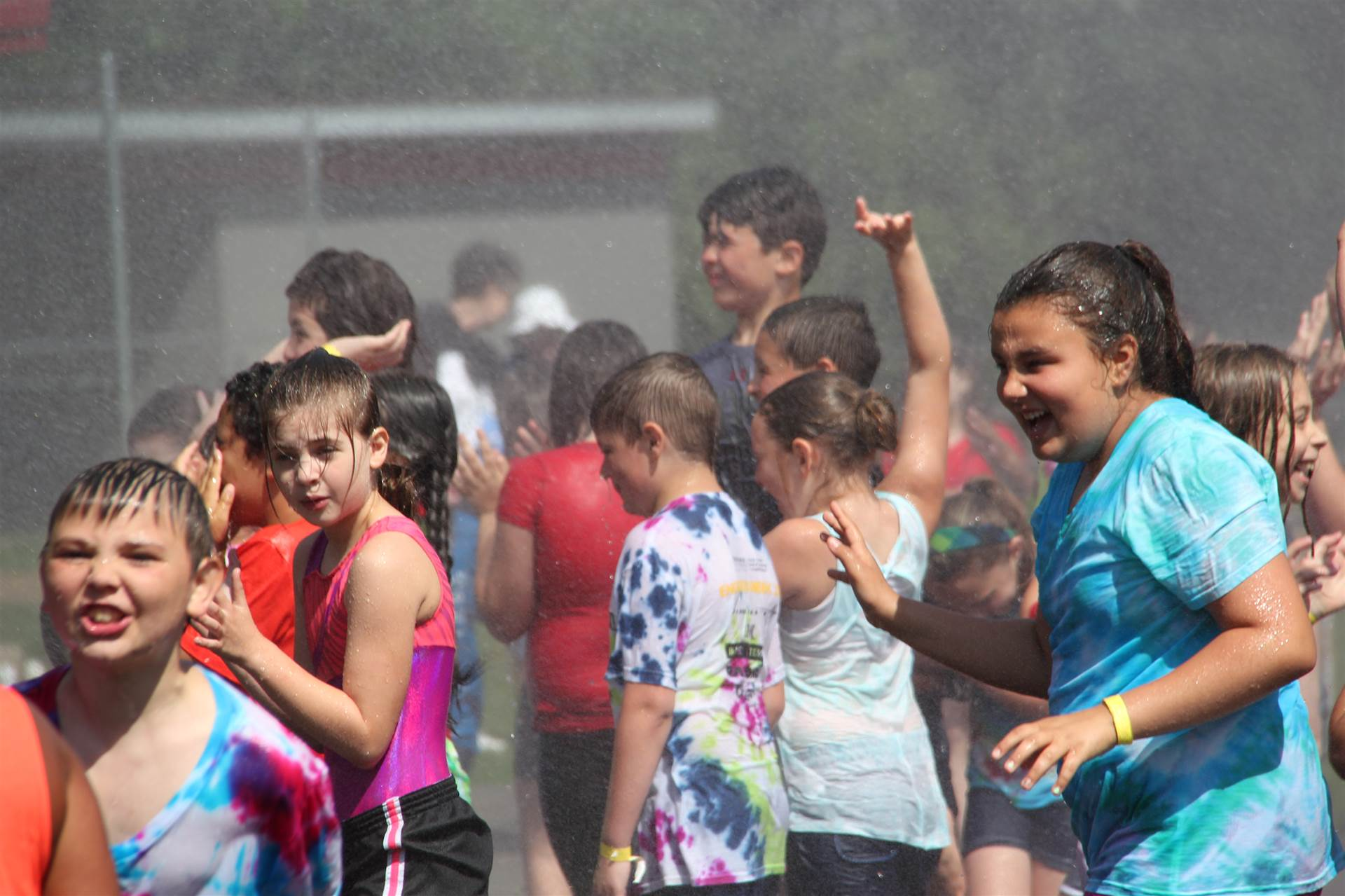 children laugh while they are sprayed by hose