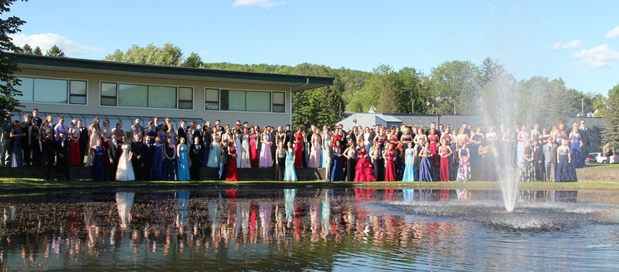 far away shot of all students before prom