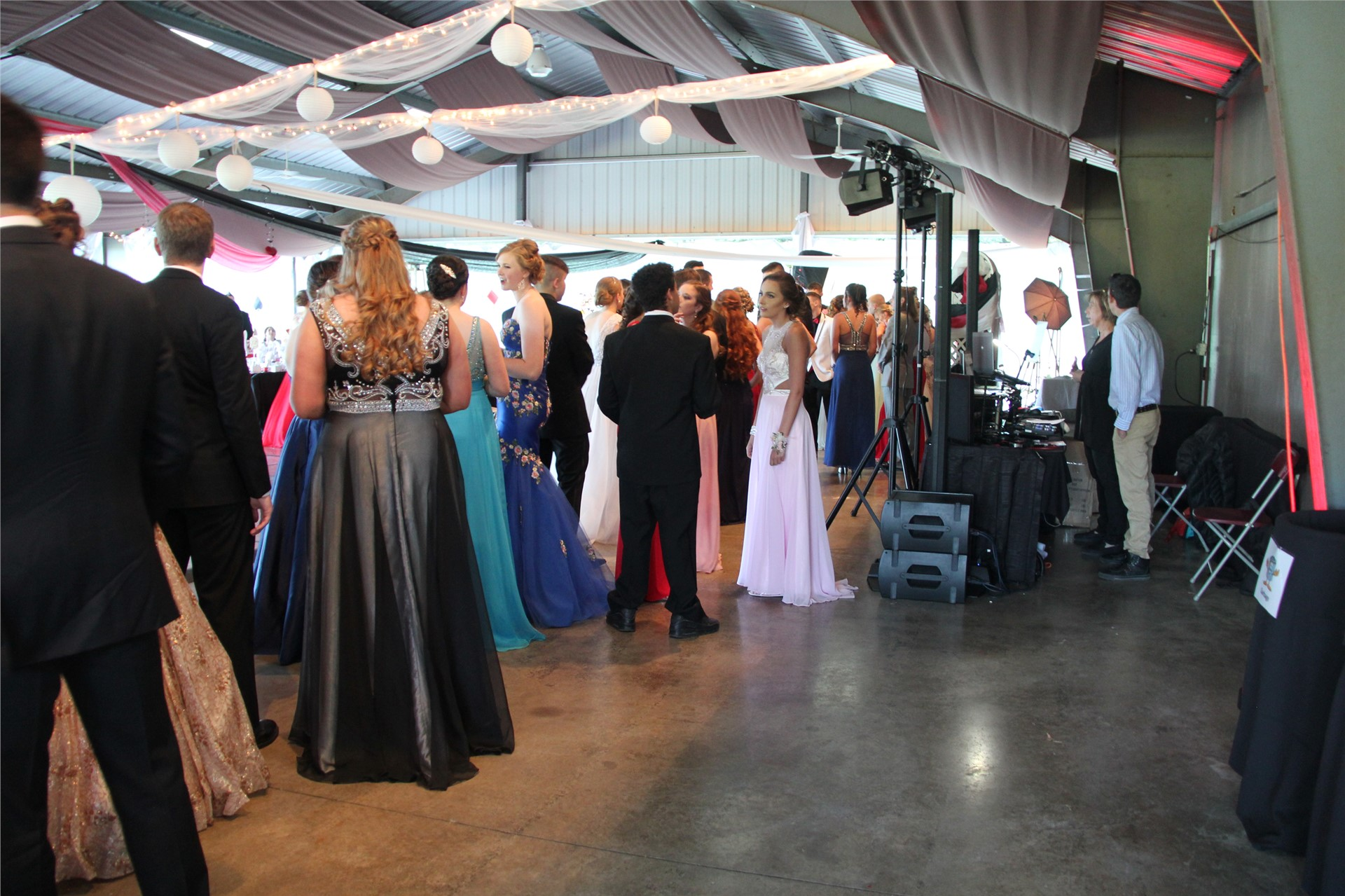 Distance shot of students inside prom